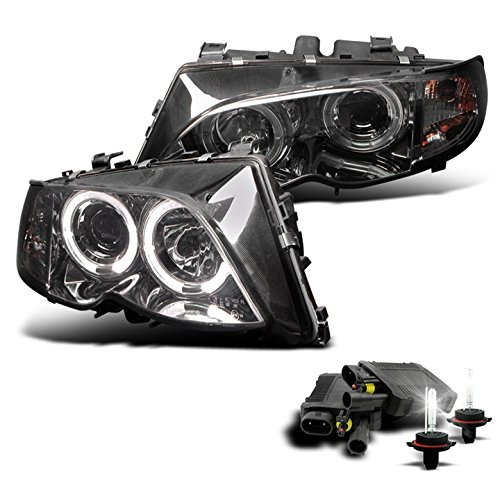 2002-2005 BMW 3 Series E46 4DR Halo Projector Headlights with 8000K HID Conversion Kit - Smoke