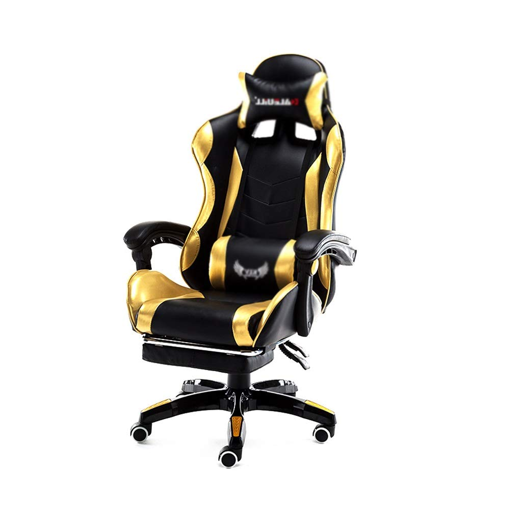 Computer Stuhl Gelb Lederstuhl Home Computer Stuhl Bürostuhl Internet Cafe Spiel Esports Stuhl Athletisch LOL Racing Chair Büro Mittagspause Stuhl (Color : Blue, Size : 133 * 65CM)