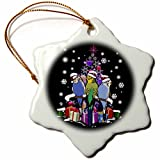 3dRose Sven Herkenrath Animal - Christmas Budgerigar in Xmas Style with Snowflakes and Gifts - 3 inch Snowflake Porcelain Ornament (orn_266152_1)