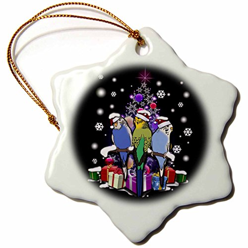 3dRose Sven Herkenrath Animal - Christmas Budgerigar in Xmas Style with Snowflakes and Gifts - 3 inch Snowflake Porcelain Ornament (orn_266152_1) by 3dRose