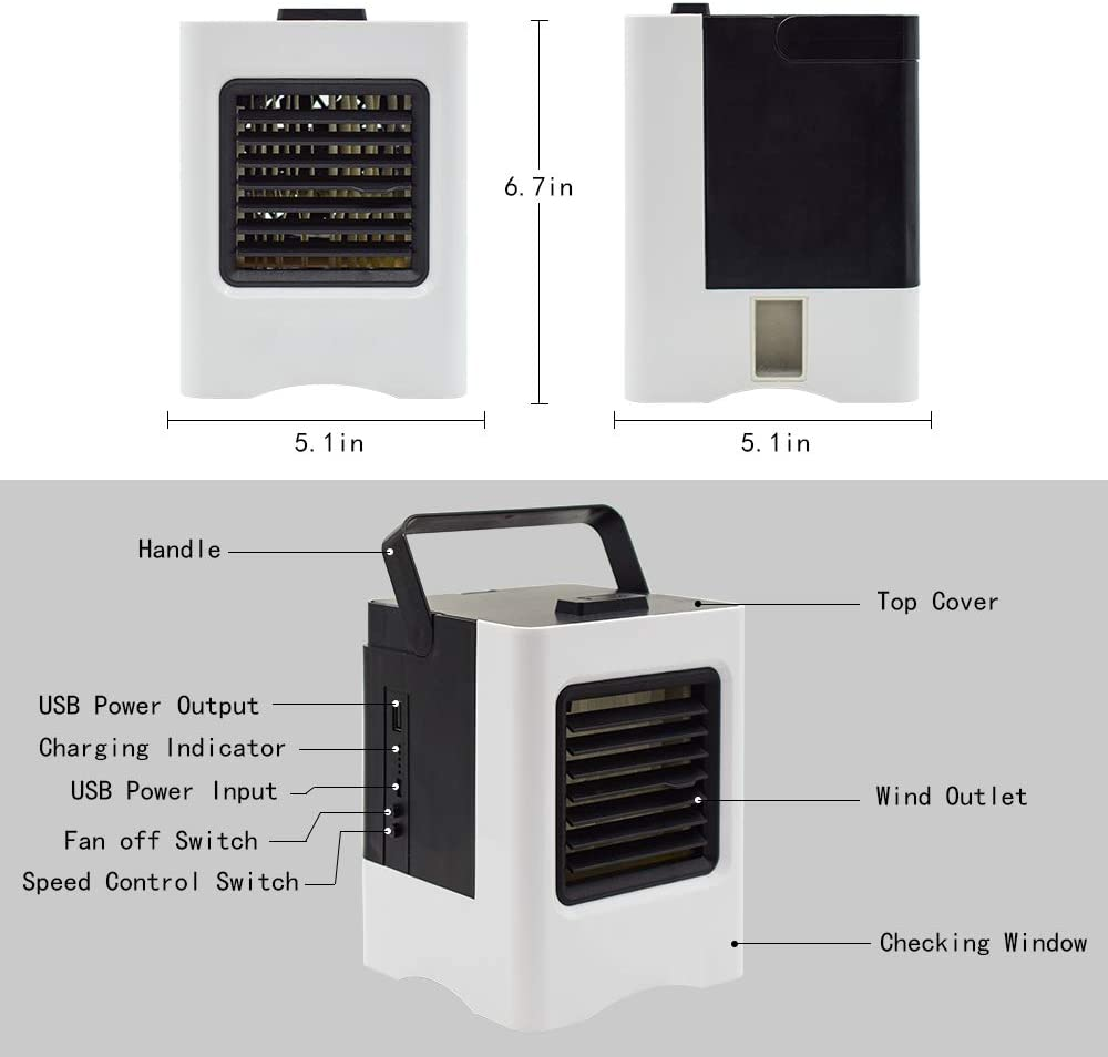 Refroidisseur Dair USB Climatiseur 3 EN 1 R/églable Air Climatiseur Mini Air Refroidisseur Humidificateur Purificateur pour Maison//Bureau//Camping Climatiseurs portables