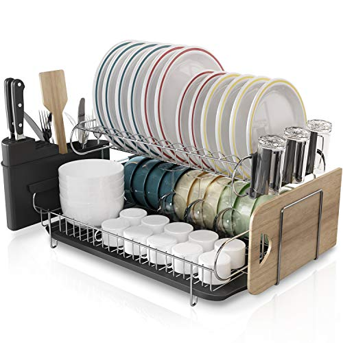 Kitchen Dish Rack, Boosiny 2 Tier 304 Stainless Steel Large Dish Drying Rack with Drainboard Set Utensil Holder Dish Drainer, Cutting Board Holder and Dish Racks for Counter
