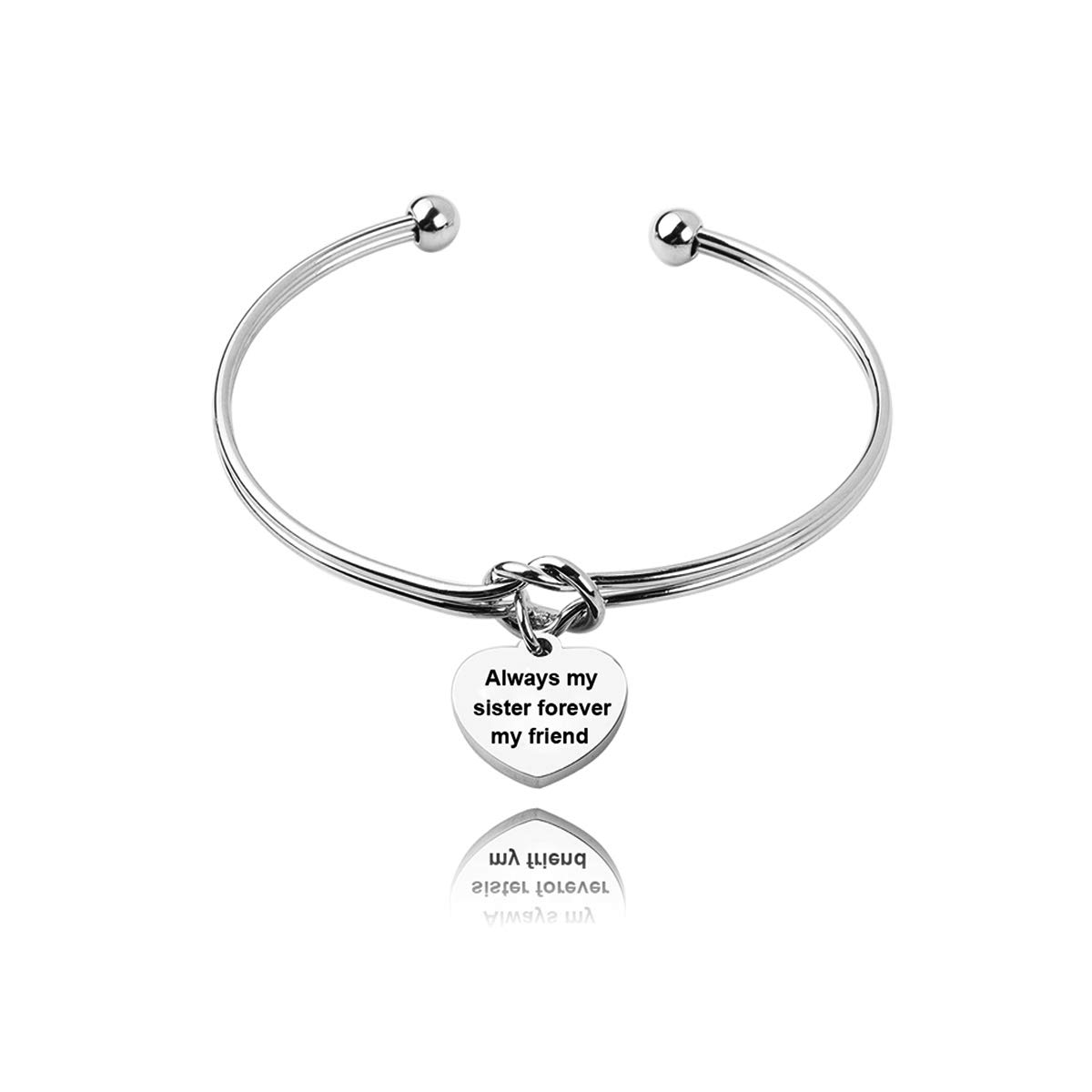 REEBOOOR Tie The Knots Cuff Bracelet Always My Sister, Forever My Friend Inspirational Gift, Women Jewelry, Friendship Gift, Sister Gift (Always My Sister Forever My Friend)