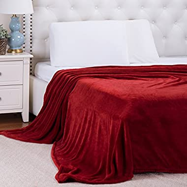 Flannel Throw Blankets, Bed Blanket by Bedsure-100% Plush Microfiber(Warm/Cozy/Fluffy), Lightweight and Easy Care, Couch Blanket, Twin Full/Queen King(90 x90  Red)