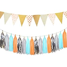 Glitter Gold Paper Pennant Banner Triangle Flag 8.5 Feet and Tissue Paper Tassel Garland 20 pcs for Wedding, Bachelorette, Birthday Party Festival Decorations, Silver+Blue+Orange