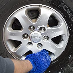 Premium Microfiber Cleaning Mitts - 2 Large Ultra Plush Car Wash Mitts - with a Kids Wash Mitt so they can help