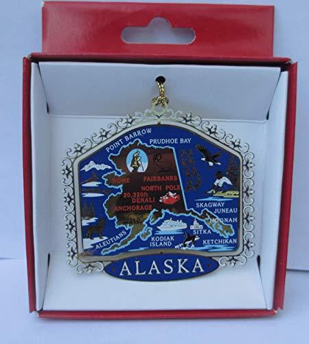 Nations Treasures Alaska Colored Brass Ornament State Landmarks