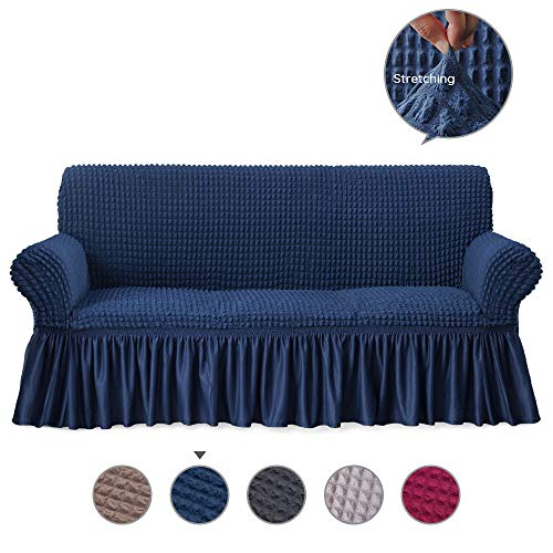 Alpha Belle 1 Piece Univeral Fit Easily Sofa Slipcover with Elastic Quick-Drying Fabric Durable Stretchable Sofa Protector Couch Cover with Ruffle Skirt Machine Washable (3-seat Sofa/Dark Blue) ()