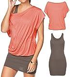 Yinggeli Women's 2 Pieces Casual Loose T Shirt Tops Print Bodycon Mini Tank Dresses (Large, Pink)