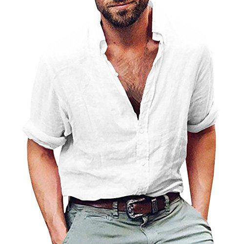 Runcati Mens Linen Casual Long Sleeve Shirt Cotton Tees Loose Fit Button Down Roll Up Summer Beach Yoga Tops