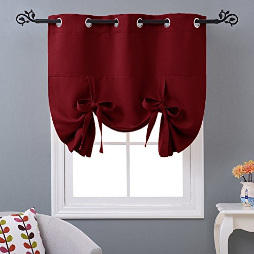 NICETOWN Burgundy Red Blind for Doors - Tie Up Shade Blackout Curtain for Kitchen Window (Grommet Top Panel, 46