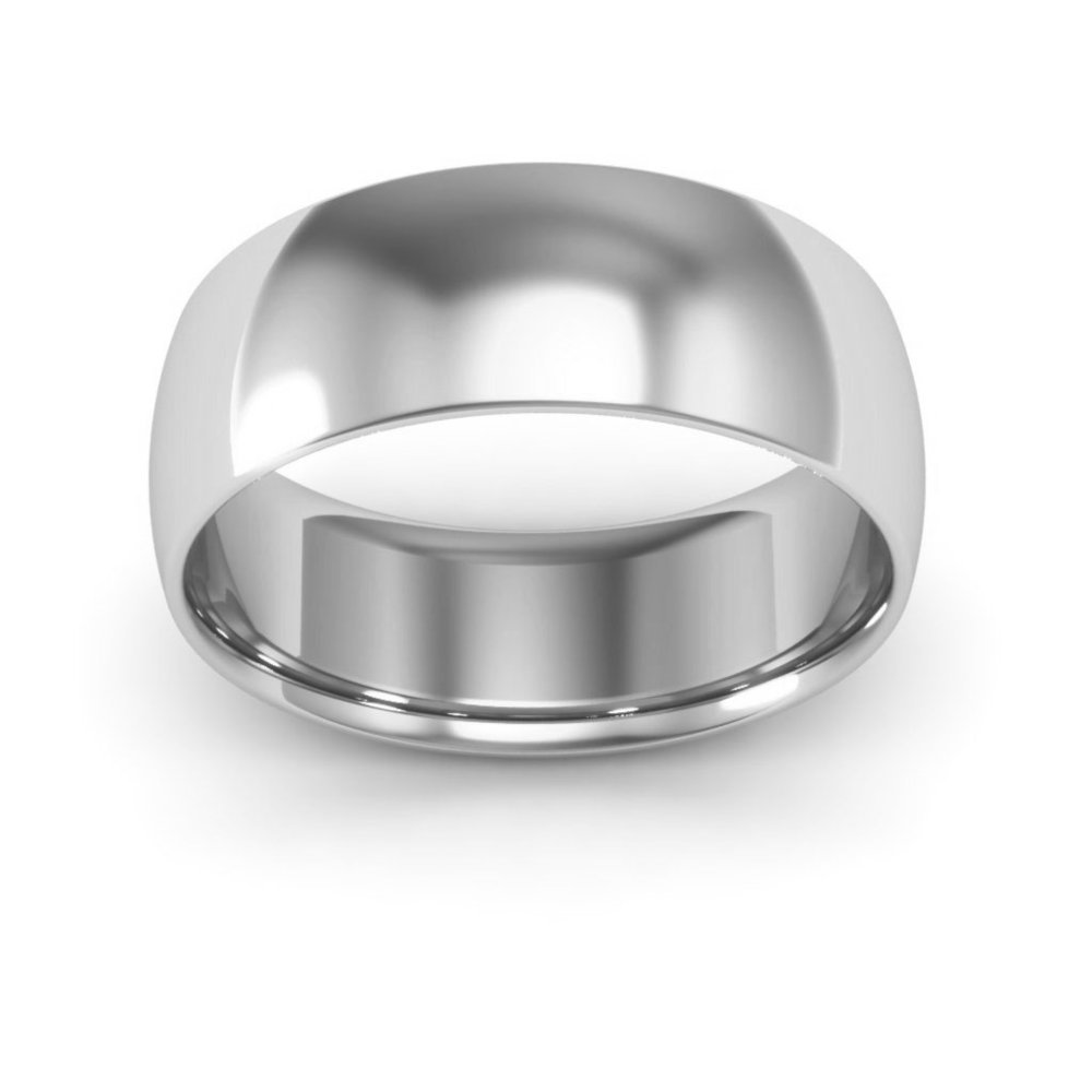 10K White Gold mens and womens plain wedding bands 7mm comfort-fit light