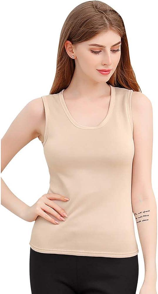 YLucy Men Women O Neck Thermal Fleece Lined Underwear Tops Cami Tank Top Vest