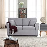 Classic Traditional Ultra Comfortable Linen Fabric Loveseat - Living Room Fabric Couch (Light Grey)