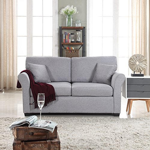 DIVANO ROMA FURNITURE EXP121-FB-2S Fabric Loveseat, Light Grey
