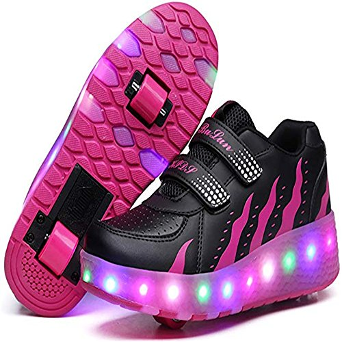 unyielding1 Kids Skate Shoes Roller Sneakers Birthday Halloween (Double-Black-1 38/5.5 M US Big -