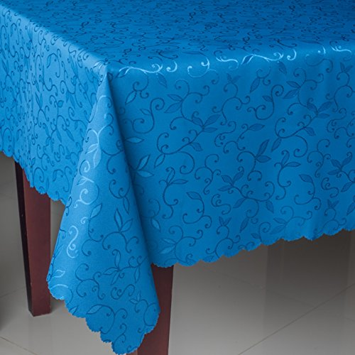 Turkish Tablecloth Polyester Table Linen, Stain Resistant, Wrinkle free, Non-Iron, Dust-proof, Heavy Duty, Oblong, Square, Round – Table cover for Wedding, Party, Gift (BLUE, Square 52