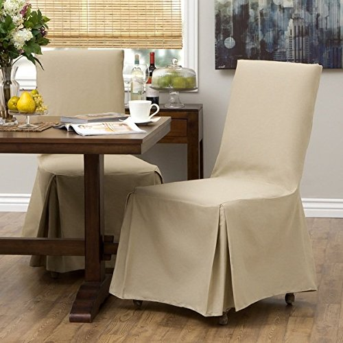 2 Piece Khaki Parsons Chair Slipcover, Form Fitting Style, Solid Pattern, Pure Duck Cotton Fabric, Gorgeous Quality, 34 in. H x 22 in. W x 22 in. D, Machine Washable, Light Brown (Chair Parsons Skirted)