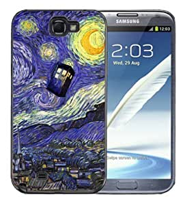 Pink Ladoo? Samsung Galaxy Note 2 Black Case - Dr Who Tardis Starry Night Painting Phone Booth Call Box Blue