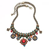 Colorful Beads Hollow Flower Blue Alloy Circinal Square Pendant Short Clavicle Necklace