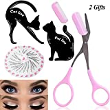 Eye Makeup Tool Kit for Women - Cat Eyeliner Stencil / 24 Shapes Eyebrow Stencil/Eyebrow Trimmer Scissors With Comb Hair Remover Beauty Tools