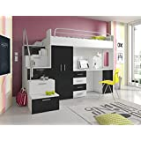 "HIGH BED ""TALA 4S"", MODERN SET WITH WARDROBE, DESK AND BED WITH MATTRESS, FUNCTIONAL DESIGN, HIGH GLOSS INSERTS (Black Inserts)"