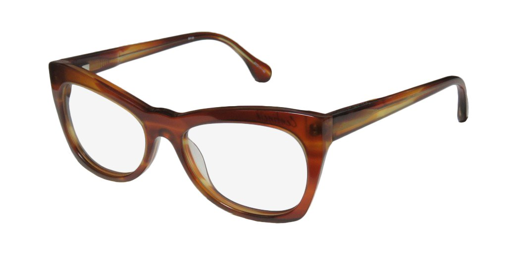 Elizabeth And James Centinela Womens/Ladies Ophthalmic For Adults Cat Eye Full-rim Spring Hinges Eyeglasses/Eyeglass Frame (52-17-140, Amber Brown)