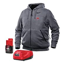 Milwaukee Hoodie M12 12V Lithium-Ion Heated Jacket KIT Front and Back Heat Zones -All Sizes and Colors - Battery and Charger Included - (Small, Gray)