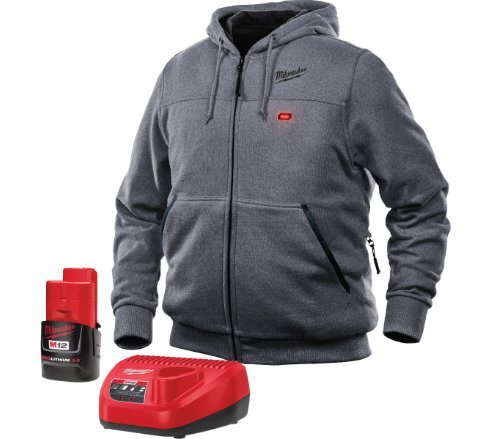 Milwaukee Heated Hoodie KIT M12 12V Lithium-Ion Front and Back Heat Zones - Battery and Charger Included - (Large, Gray)