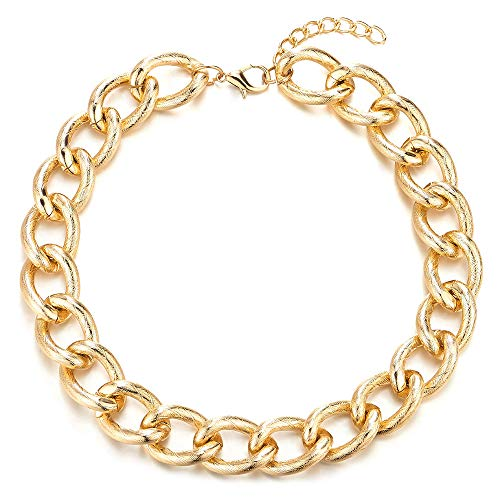 Statement Necklace, Textured Circles Link Chain Large Collar, Party Dress ()