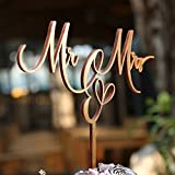 Mr and Mrs Wedding Cake Topper Retro Gold Wood Wedding Cake Topper for Bride and Groom