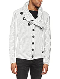 LN5065 Men's Cardigan With Faux Leather Accents