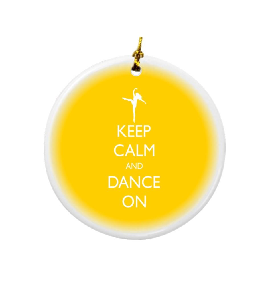 Rikki Knight Keep Calm and Dance on Yellow Color Design Round Porcelain Two-Sided Christmas Ornaments