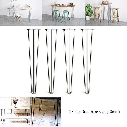 2018 Nouveau Design 71,1 cm (71 cm) Dragonne Pieds de table meubles en mé tal Pieds de table 3 Tige en acier, Bare, Standard Hauteur de la table –  Peut prendre en charge é norme charges –