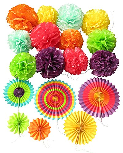 Tissue Paper Pom Poms & Fiesta Paper Fans - Set of 18 pcs 6 Mixed Colors - Pre Folded Paper Party Fiesta Decoration for Wedding Bridal Baby Shower Nursery Anniversary Carnivals