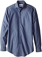 Calvin Klein Men's Slim Fit Non Iron Textured Blue Check