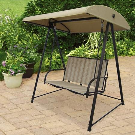 Mainstays Stripe Sling Outdoor Swing Natural Seats 2 & 11 Canopy Swings for 2 Persons for That Cozy Garden Nook