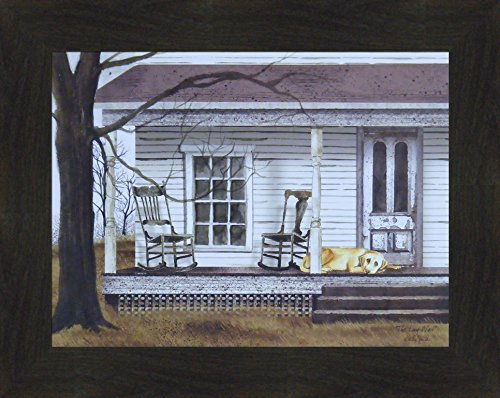The Long Wait by Billy Jacobs 16x20 Dog Porch Rockers Rocking Chairs Country Primitive Folk Art Print Framed Picture (2