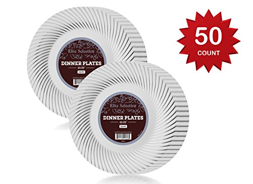 Elite Selection Pack Of 50 White Plastic Plates With Silver Swirl Rim (10 In Plate Silver swirl)