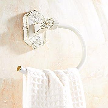 Yomiokla - Accesorios de baño - cocina, inodoro, balcón y baño toalla de metal anillo continental antiguo adornos rejilla pintura blanca: Amazon.es: ...