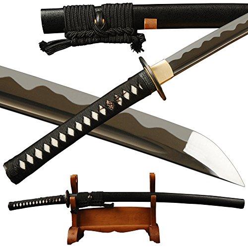 Japanese Samurai Katana Sword 1095 Carbon Steel Full Tang Real Sharp Blade (Black 1095 Carbon Steel Blade)