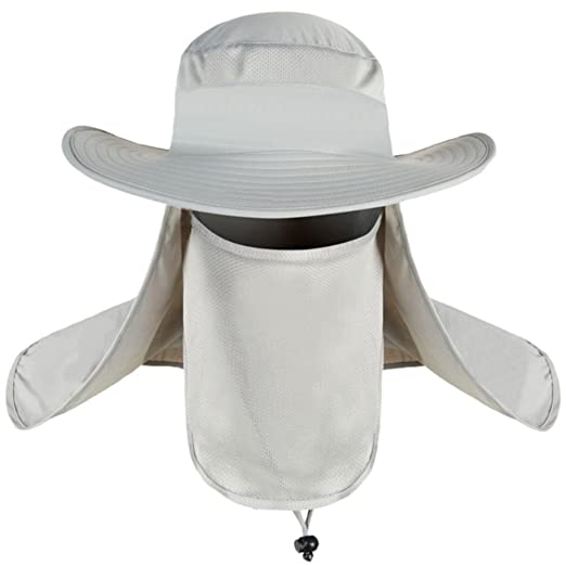7ec68393665 Image Unavailable. Image not available for. Color  Unisex Fishing Hat Sun Hats  Mesh Bucket Hat UPF 50+ Protection Detachable Cap Neck Face