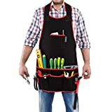 #8: Tool Apron - Safety Glasses Set! Professional Heavy Duty Canvas and Waterproof Bib with 13 Pockets for Woodworking & Gardening or Construction Work - Adjustable Waist for Men and Women by Adepsia
