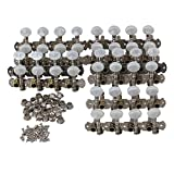 Yibuy 4R4L Silver Mandolin Tuning Pegs Tuners Set with White Buttons Set of 10