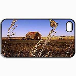 Customized Cellphone Case Back Cover For iPhone 4 4S, Protective Hardshell Case Personalized Butterfly1 Black