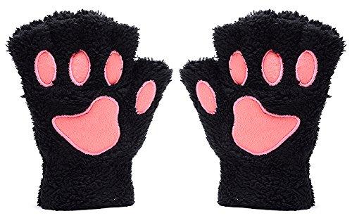 Odema Women Cute Cat Paw Fingerless Mitten Gloves