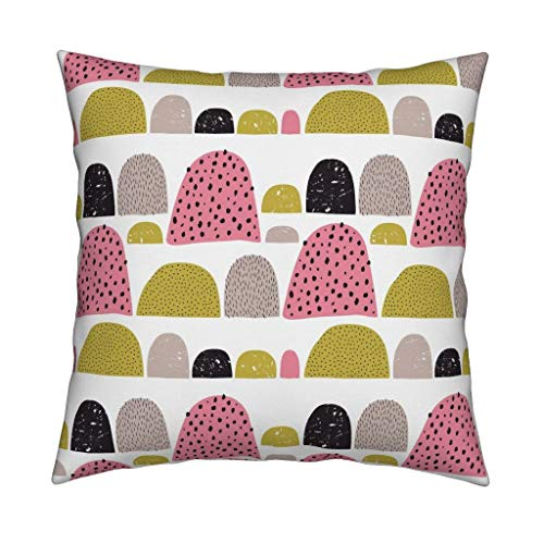 (Mid Century Mod Velvet Throw Pillow Gumdrops Abstract Dots Girls Room by Littlesmilemakers Cover and Insert Included)