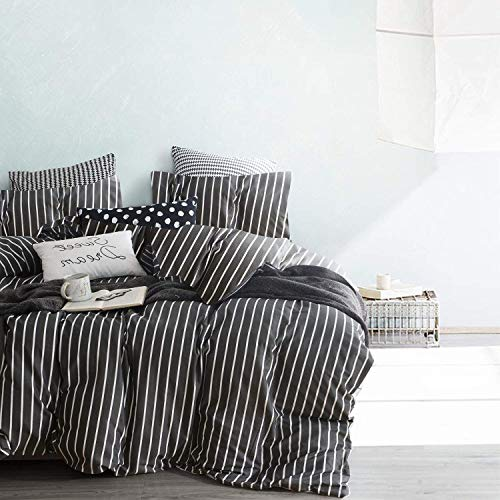 Cozyholy - 3 Pieces Classic Black Pinstripes Cotton Duvet Cover Set High Thread Count Comforter Quilt Cover with 2 Pillow Shams, Zipper Closure Corner Ties, Twin