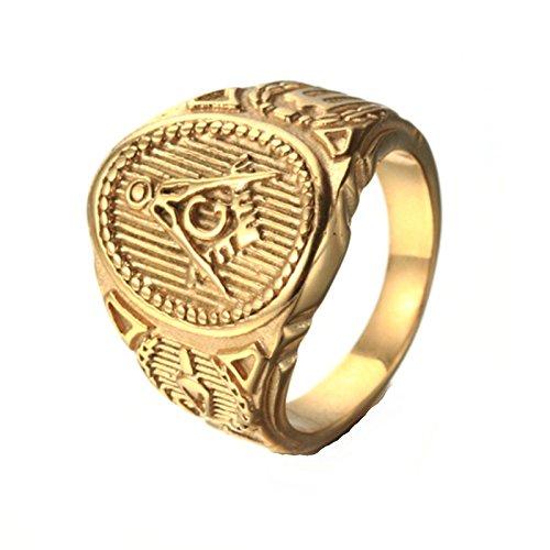 Bishilin Men's Rings Stainless Steel Masonic Letter G Engraving Pattern Rings Gold Size - 9 Steel Stainless Opener Letter
