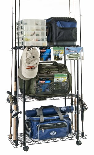 Organized Fishing Tackle Trolley Rolling Wire Rack